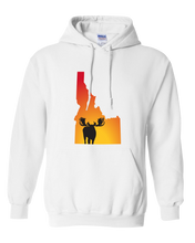 Load image into Gallery viewer, Pullover Hooded Sweatshirt Idaho White Moose Vibrant Design High Quality Tight Knit Ring Spun Low Maintenance Cotton Printed With The Newest Available Color Transfer Technology