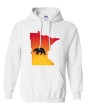 Load image into Gallery viewer, Pullover Hooded Sweatshirt Minnesota White Black Bear Vibrant Design High Quality Tight Knit Ring Spun Low Maintenance Cotton Printed With The Newest Available Color Transfer Technology