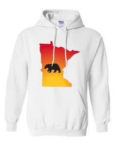 Pullover Hooded Sweatshirt Minnesota White Black Bear Vibrant Design High Quality Tight Knit Ring Spun Low Maintenance Cotton Printed With The Newest Available Color Transfer Technology