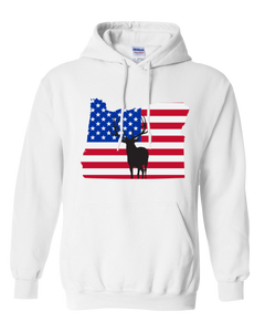 Pullover Hooded Sweatshirt Oregon White Elk Vibrant Design High Quality Tight Knit Ring Spun Low Maintenance Cotton Printed With The Newest Available Color Transfer Technology