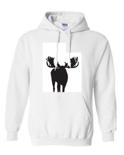 Load image into Gallery viewer, Pullover Hooded Sweatshirt Utah White Moose Vibrant Design High Quality Tight Knit Ring Spun Low Maintenance Cotton Printed With The Newest Available Color Transfer Technology