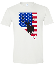 Load image into Gallery viewer, Short Sleeve T-Shirt Nevada White Elk Vibrant Design High Quality Tight Knit Ring Spun Low Maintenance Cotton Printed With The Newest Available Color Transfer Technology