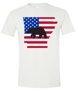 Short Sleeve T-Shirt Arkansas White Black Bear Vibrant Design High Quality Tight Knit Ring Spun Low Maintenance Cotton Printed With The Newest Available Color Transfer Technology