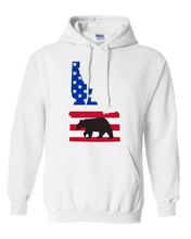 Load image into Gallery viewer, Pullover Hooded Sweatshirt Idaho White Black Bear Vibrant Design High Quality Tight Knit Ring Spun Low Maintenance Cotton Printed With The Newest Available Color Transfer Technology