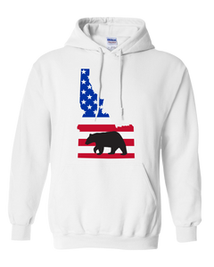 Pullover Hooded Sweatshirt Idaho White Black Bear Vibrant Design High Quality Tight Knit Ring Spun Low Maintenance Cotton Printed With The Newest Available Color Transfer Technology