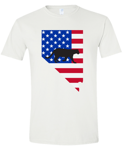 Short Sleeve T-Shirt Nevada White Mountain Lion Vibrant Design High Quality Tight Knit Ring Spun Low Maintenance Cotton Printed With The Newest Available Color Transfer Technology