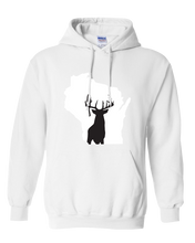 Load image into Gallery viewer, Pullover Hooded Sweatshirt Wisconsin White Whitetail Deer Vibrant Design High Quality Tight Knit Ring Spun Low Maintenance Cotton Printed With The Newest Available Color Transfer Technology