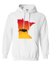 Load image into Gallery viewer, Pullover Hooded Sweatshirt Minnesota White Large Mouth Bass Vibrant Design High Quality Tight Knit Ring Spun Low Maintenance Cotton Printed With The Newest Available Color Transfer Technology