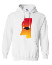 Load image into Gallery viewer, Pullover Hooded Sweatshirt Mississippi White Large Mouth Bass Vibrant Design High Quality Tight Knit Ring Spun Low Maintenance Cotton Printed With The Newest Available Color Transfer Technology