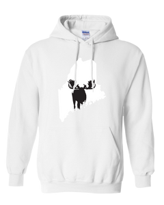 Pullover Hooded Sweatshirt Maine White Moose Vibrant Design High Quality Tight Knit Ring Spun Low Maintenance Cotton Printed With The Newest Available Color Transfer Technology