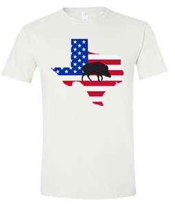 Short Sleeve T-Shirt Texas White Wild Hog Vibrant Design High Quality Tight Knit Ring Spun Low Maintenance Cotton Printed With The Newest Available Color Transfer Technology