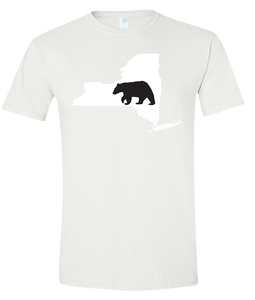 Short Sleeve T-Shirt New York White Black Bear Vibrant Design High Quality Tight Knit Ring Spun Low Maintenance Cotton Printed With The Newest Available Color Transfer Technology