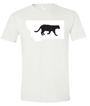 Load image into Gallery viewer, Short Sleeve T-Shirt Montana White Mountain Lion Vibrant Design High Quality Tight Knit Ring Spun Low Maintenance Cotton Printed With The Newest Available Color Transfer Technology