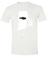 Load image into Gallery viewer, Short Sleeve T-Shirt Rhode Island White Large Mouth Bass Vibrant Design High Quality Tight Knit Ring Spun Low Maintenance Cotton Printed With The Newest Available Color Transfer Technology