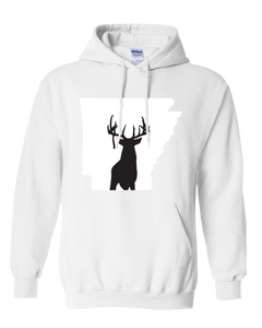 Pullover Hooded Sweatshirt Arkansas White Whitetail Deer Vibrant Design High Quality Tight Knit Ring Spun Low Maintenance Cotton Printed With The Newest Available Color Transfer Technology
