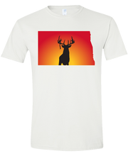 Load image into Gallery viewer, Short Sleeve T-Shirt North Dakota White Whitetail Deer Vibrant Design High Quality Tight Knit Ring Spun Low Maintenance Cotton Printed With The Newest Available Color Transfer Technology