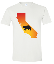 Load image into Gallery viewer, Short Sleeve T-Shirt California White Black Bear Vibrant Design High Quality Tight Knit Ring Spun Low Maintenance Cotton Printed With The Newest Available Color Transfer Technology