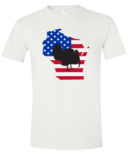 Load image into Gallery viewer, Short Sleeve T-Shirt Wisconsin White Turkey Vibrant Design High Quality Tight Knit Ring Spun Low Maintenance Cotton Printed With The Newest Available Color Transfer Technology