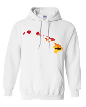 Load image into Gallery viewer, Pullover Hooded Sweatshirt Hawaii White Large Mouth Bass Vibrant Design High Quality Tight Knit Ring Spun Low Maintenance Cotton Printed With The Newest Available Color Transfer Technology