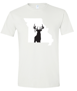 Short Sleeve T-Shirt Missouri White Whitetail Deer Vibrant Design High Quality Tight Knit Ring Spun Low Maintenance Cotton Printed With The Newest Available Color Transfer Technology