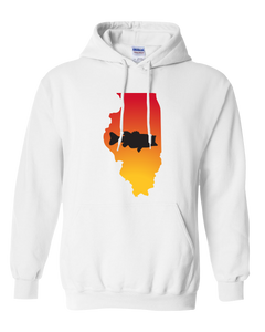 Pullover Hooded Sweatshirt Illinois White Large Mouth Bass Vibrant Design High Quality Tight Knit Ring Spun Low Maintenance Cotton Printed With The Newest Available Color Transfer Technology