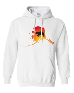 Pullover Hooded Sweatshirt Alaska White Black Bear Vibrant Design High Quality Tight Knit Ring Spun Low Maintenance Cotton Printed With The Newest Available Color Transfer Technology