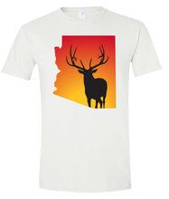 Load image into Gallery viewer, Short Sleeve T-Shirt Arizona White Elk Vibrant Design High Quality Tight Knit Ring Spun Low Maintenance Cotton Printed With The Newest Available Color Transfer Technology
