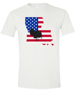 Short Sleeve T-Shirt Louisiana White Turkey Vibrant Design High Quality Tight Knit Ring Spun Low Maintenance Cotton Printed With The Newest Available Color Transfer Technology