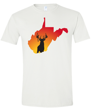 Load image into Gallery viewer, Short Sleeve T-Shirt West Virginia White Whitetail Deer Vibrant Design High Quality Tight Knit Ring Spun Low Maintenance Cotton Printed With The Newest Available Color Transfer Technology