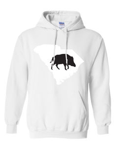 Pullover Hooded Sweatshirt South Carolina White Wild Hog Vibrant Design High Quality Tight Knit Ring Spun Low Maintenance Cotton Printed With The Newest Available Color Transfer Technology