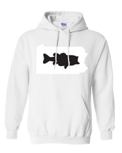 Load image into Gallery viewer, Pullover Hooded Sweatshirt Pennsylvania White Large Mouth Bass Vibrant Design High Quality Tight Knit Ring Spun Low Maintenance Cotton Printed With The Newest Available Color Transfer Technology