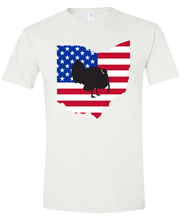 Load image into Gallery viewer, Short Sleeve T-Shirt Ohio White Turkey Vibrant Design High Quality Tight Knit Ring Spun Low Maintenance Cotton Printed With The Newest Available Color Transfer Technology
