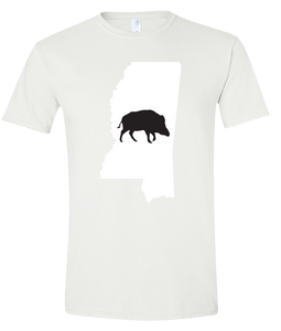 Short Sleeve T-Shirt Mississippi White Wild Hog Vibrant Design High Quality Tight Knit Ring Spun Low Maintenance Cotton Printed With The Newest Available Color Transfer Technology