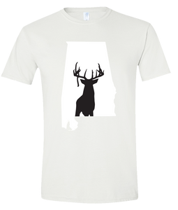 Short Sleeve T-Shirt Alabama White Whitetail Deer Vibrant Design High Quality Tight Knit Ring Spun Low Maintenance Cotton Printed With The Newest Available Color Transfer Technology
