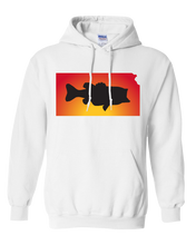 Load image into Gallery viewer, Pullover Hooded Sweatshirt Kansas White Large Mouth Bass Vibrant Design High Quality Tight Knit Ring Spun Low Maintenance Cotton Printed With The Newest Available Color Transfer Technology