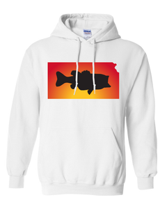 Pullover Hooded Sweatshirt Kansas White Large Mouth Bass Vibrant Design High Quality Tight Knit Ring Spun Low Maintenance Cotton Printed With The Newest Available Color Transfer Technology