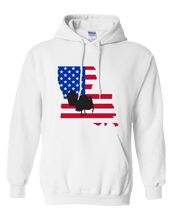 Load image into Gallery viewer, Pullover Hooded Sweatshirt Louisiana White Turkey Vibrant Design High Quality Tight Knit Ring Spun Low Maintenance Cotton Printed With The Newest Available Color Transfer Technology