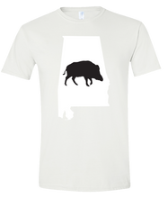Load image into Gallery viewer, Short Sleeve T-Shirt Alabama White Wild Hog Vibrant Design High Quality Tight Knit Ring Spun Low Maintenance Cotton Printed With The Newest Available Color Transfer Technology