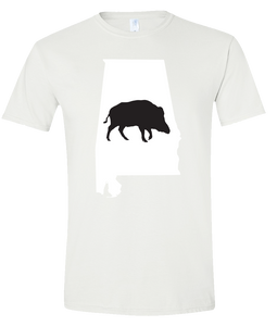 Short Sleeve T-Shirt Alabama White Wild Hog Vibrant Design High Quality Tight Knit Ring Spun Low Maintenance Cotton Printed With The Newest Available Color Transfer Technology