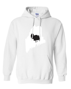 Pullover Hooded Sweatshirt Maine White Turkey Vibrant Design High Quality Tight Knit Ring Spun Low Maintenance Cotton Printed With The Newest Available Color Transfer Technology
