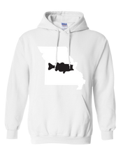 Load image into Gallery viewer, Pullover Hooded Sweatshirt Missouri White Large Mouth Bass Vibrant Design High Quality Tight Knit Ring Spun Low Maintenance Cotton Printed With The Newest Available Color Transfer Technology