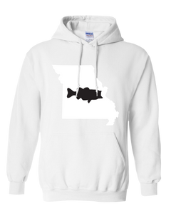 Pullover Hooded Sweatshirt Missouri White Large Mouth Bass Vibrant Design High Quality Tight Knit Ring Spun Low Maintenance Cotton Printed With The Newest Available Color Transfer Technology