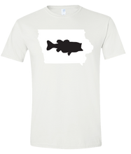 Load image into Gallery viewer, Short Sleeve T-Shirt Iowa White Large Mouth Bass Vibrant Design High Quality Tight Knit Ring Spun Low Maintenance Cotton Printed With The Newest Available Color Transfer Technology