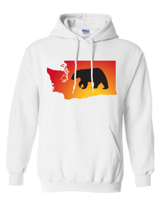 Pullover Hooded Sweatshirt Washington White Black Bear Vibrant Design High Quality Tight Knit Ring Spun Low Maintenance Cotton Printed With The Newest Available Color Transfer Technology