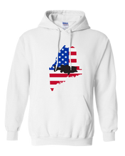 Load image into Gallery viewer, Pullover Hooded Sweatshirt Maine White Large Mouth Bass Vibrant Design High Quality Tight Knit Ring Spun Low Maintenance Cotton Printed With The Newest Available Color Transfer Technology