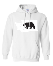 Load image into Gallery viewer, Pullover Hooded Sweatshirt Washington White Black Bear Vibrant Design High Quality Tight Knit Ring Spun Low Maintenance Cotton Printed With The Newest Available Color Transfer Technology