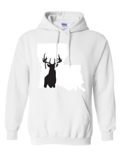 Load image into Gallery viewer, Pullover Hooded Sweatshirt Louisiana White Whitetail Deer Vibrant Design High Quality Tight Knit Ring Spun Low Maintenance Cotton Printed With The Newest Available Color Transfer Technology