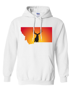 Pullover Hooded Sweatshirt Montana White Mule Deer Vibrant Design High Quality Tight Knit Ring Spun Low Maintenance Cotton Printed With The Newest Available Color Transfer Technology