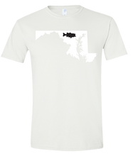 Load image into Gallery viewer, Short Sleeve T-Shirt Maryland White Large Mouth Bass Vibrant Design High Quality Tight Knit Ring Spun Low Maintenance Cotton Printed With The Newest Available Color Transfer Technology