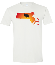 Load image into Gallery viewer, Short Sleeve T-Shirt Massachusetts White Turkey Vibrant Design High Quality Tight Knit Ring Spun Low Maintenance Cotton Printed With The Newest Available Color Transfer Technology